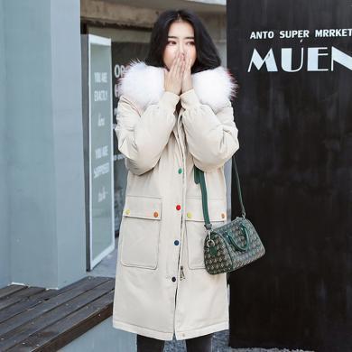 億族 冬季新款女裝中長款大毛領棉衣外套時尚派克服寬松氣質棉服