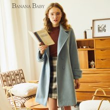 BANANA BABY新款韩版羊毛呢外套女中长款双排扣呢子大衣D74D129