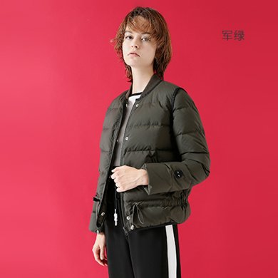 初语秋装新款羽绒服女短款轻薄 军绿色立领收腰修身保暖外套8730942007