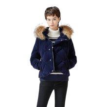 初语冬季新款 毛领边连帽加厚直筒女装外套菱形压纹短款羽绒服8730949012