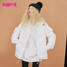 妖精的口袋Y拉链外套冬装2018新款白鸭绒保暖半高领中长羽绒服女R