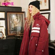 妖精的口袋羽绒服冬装2018新款长款加厚不带毛白鸭绒保暖大衣女R