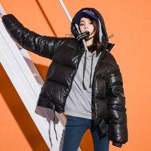 新品 七格格 羽绒服女短款2018新款韩版个性口袋时尚学生运动宽松白鸭绒