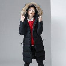 初语冬季羽绒服女中长款毛领时尚加保暖过膝外套8740922804y