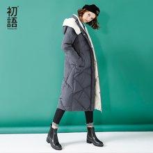 初语2018冬装新款中长款羽绒服女过膝加厚中长款带帽个性外套8630912005
