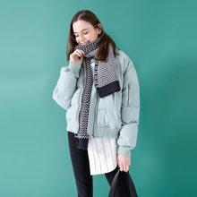 初语白鸭绒冬季羽绒服女2018新款夹克短款加厚宽松棒球服外套8730942005