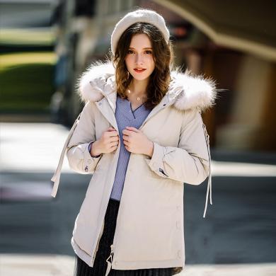 刊菲 冬季新款女裝加厚連帽外套保暖大毛領羽絨服 93075
