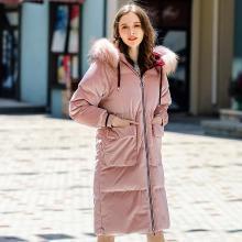 刊菲 冬季新款女裝加厚長款連帽休閑外套大毛領羽絨服 93076