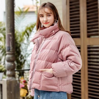 刊菲 冬季新款时尚女装保暖加厚外套英伦百搭羽绒服 97123