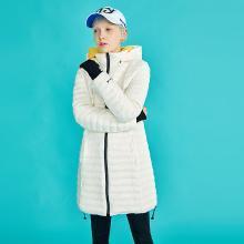 初語連帽羽絨服中長款2018秋裝新款修身顯瘦保暖袖輕薄刺繡外套8830922011
