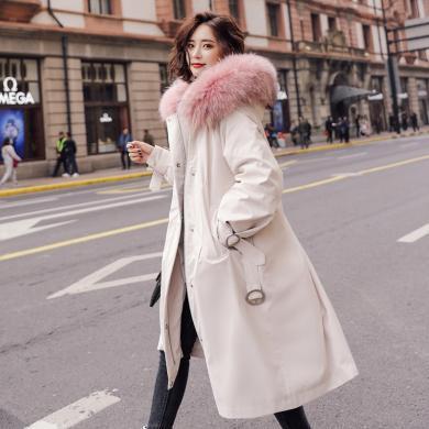 熤笙靘 2019冬裝新款貉子毛時尚外套純色寬松保暖內丹可拆卸羽絨服   N037