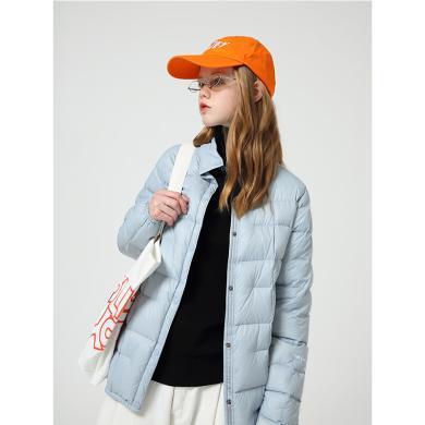 初语轻薄羽绒服女黑色冬季新款保暖印花立领外套短款韩版格纹8940942048