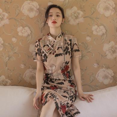 姝奕《紅妝》刺繡蕾絲收身旗袍復古旗袍改良新款SLJR8059