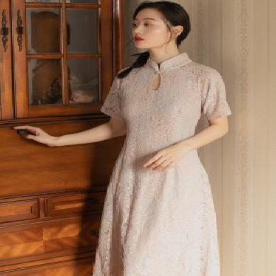 姝奕《海棠依舊》混色蕾絲收身旗袍復古旗袍改良新款SLJR8061