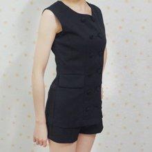 清倉春夏新款韓版名嬡無袖雪紡衫上衣短褲兩件套 女短褲 小香風雪紡套裝SZ0503