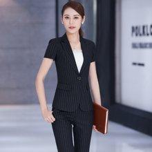 亿族 四季新款时尚修身条纹短袖西服OL女装套裤职业装西装正装