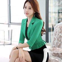 亿族 春夏装新款韩版修身时尚气质短外套小西装+黑色职业连衣裙套装