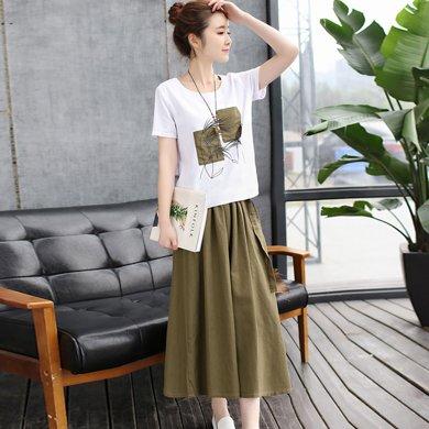 億族 夏季新款印花短袖T恤上衣+百搭純色長裙女套裝