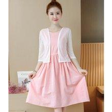 億族 夏季新款韓版修身短款薄外套+百搭純色中長款連衣裙女套裝