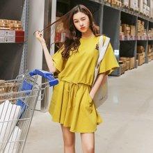 韩都衣舍2018韩版女夏装新款款纯色宽松刺绣时尚套装LU7402荃0222