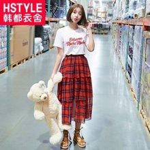 韩都衣舍2018韩版女装夏装新款宽松格子拼接时尚套装DU8266樱0301