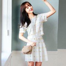 韩都衣舍2018韩版女装夏装短袖裙子印花两件时尚套装EK8083囡0403