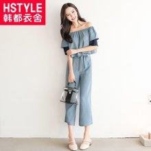 韩都衣舍2018夏新款女韩版两件套短袖雪纺潮时尚套装RW7613瑒0419
