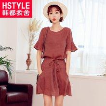 韩都衣舍2018夏装新款韩版女装系带两件套时尚套装女OR7365槿0425