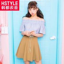 韩都衣舍2018夏新款女韩版一字肩裙装小心机时尚套装RW8376瑒0516
