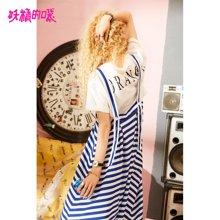 妖精的口袋Yulzzang两件套夏装2018新款纯棉海军风条纹套装裙女J