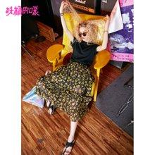 妖精的口袋Y连衣裙夏装2018新款黑色复古港味套装波浪学生裙子女J