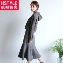 韩都衣舍2018韩版女装秋装新款纯色两件套时尚套装GJ8335荃0803