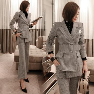 綺娑 秋冬裝新款職業套裝女時尚修身千鳥格西裝兩件套西服套裝女
