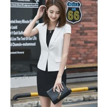 亿族 夏季新款短袖西服外套气质背心裙西装职业套装