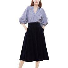 tobebery2019春装新款时尚气质衬衫丝绒半身裙套装女显瘦两件套