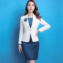 亿族 春夏装新款时尚纯色长袖西服+无袖连衣裙女西装两件套