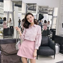 芃拉实拍2018早春新款韩版小清新条纹衬衫a字裙套装两件套SSYX3306