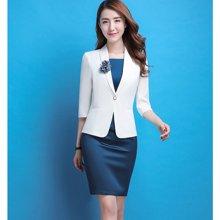亿族 春夏装新款时尚纯色中袖西服+无袖连衣裙女西装两件套