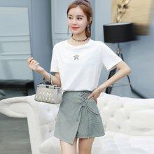 亿族 夏季新款韩版星星印花短袖T恤+绑带格子短裤裙女套装两件套