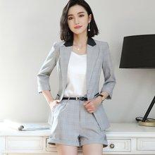 亿族 2018春夏装新款时尚英伦风中袖西服外套+短西裤女职业装两件套