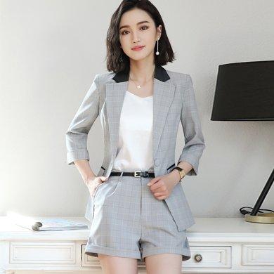 億族 春夏裝新款時尚英倫風中袖西服外套+短西褲女職業裝兩件套