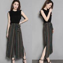 亿族 夏季新款时尚流苏袖针织衫+民族风条纹雪纺阔腿裤女套装