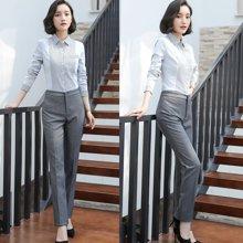 亿族 春夏装新款百搭竖条纹长袖衬衣+女灰色西裤职业装套裤