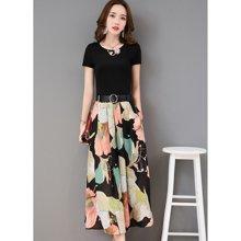 亿族 夏季新款韩版时尚小香风短袖T恤+印花阔腿裤女套装两件套