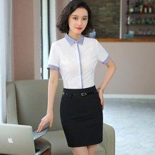 亿族 夏季新款拼色防走光短袖衬衣+百搭半身裙白领OL女职业套装