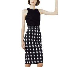 tobebery2019夏装新款女无袖上衣修身两件套职业格子时尚套装包臀
