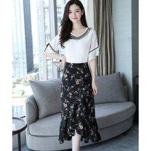 绮娑 夏季新款韩版V领五分袖T恤+显瘦碎花半身裙长裙女套装两件套