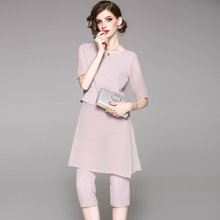 蔚家时尚  夏季条纹中袖圆领铅笔裤宽松两件套装 1807409