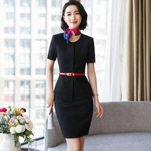 亿族 夏季新款短袖通勤OL套裙酒店美容师工作服珠宝销售两件套正装制服