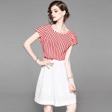 蔚家时尚 夏季条纹圆领大摆裙中款插肩袖两件套装 1811106